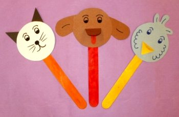 Pet stick puppet craft from the Children's Museum of Phoenix