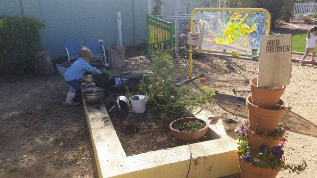 messy area, Greenhouse Montessori, mud kitchen, Gilbert, Arizona, green schools, school garden, kids, preschool
