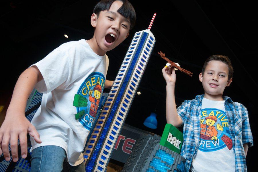 Creative crew members Aidan Miyagishima (10), of Phoenix and Ethan Tyau (9), of Gilbert at the LEGOLAND Discovery Center Arizona, at Arizona Mills Mall in Tempe. Photo Rick D'Elia.