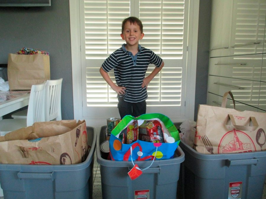 Caleb Sklar collected items for his 7th birthday party to be donated to a local pantry.