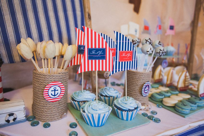 Dessert table for a party in marina style