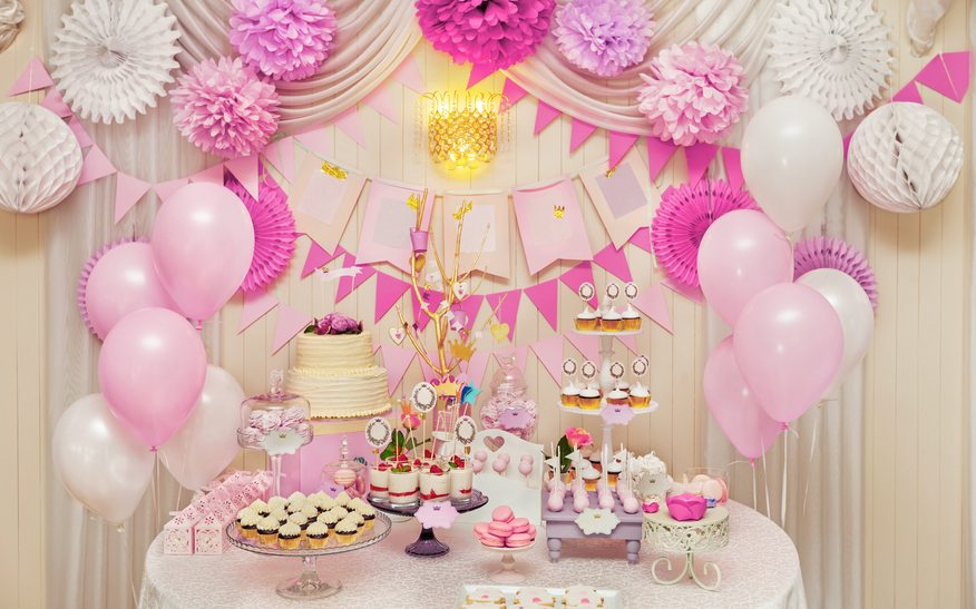 Delicious sweet holiday buffet with cupcakes, meringues and other desserts