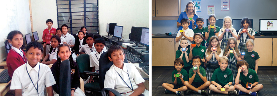 Above: Students at Ekalavya Schools in Bangalore, India. Right: Teacher Tracey Williams of All Saints' with her students and their 3-D printed solar flashlights, which will be sent to a sister school in Haiti.