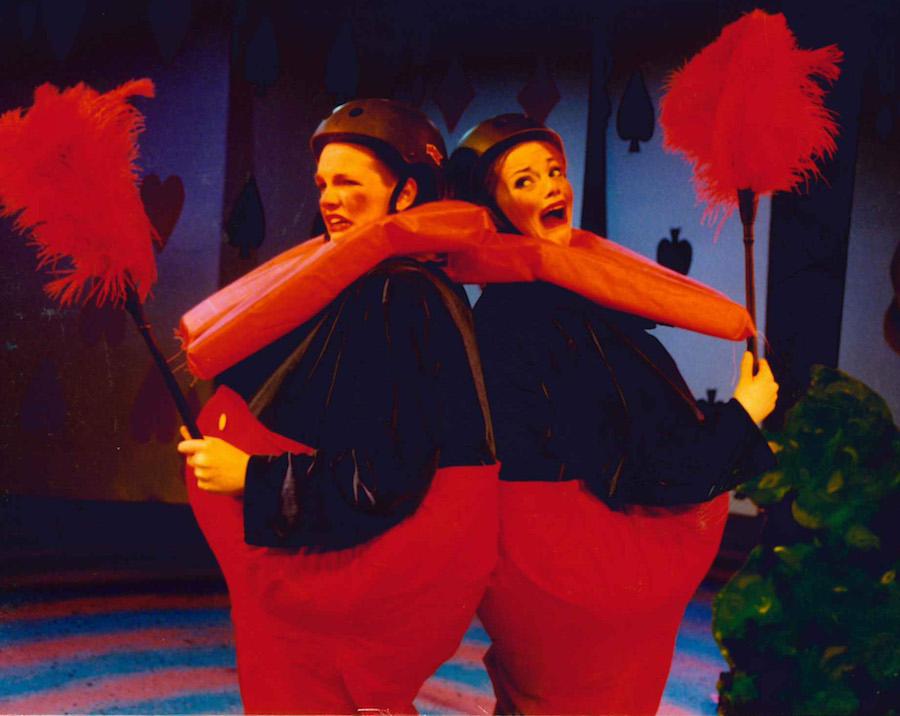 "Emma Stone (right) as Tweedledum in VYT's 2003 production of ""Alice in Wonderland."" Chad Gilbert (left) played Tweedledee."