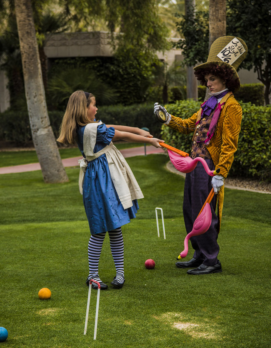 """Kate Brink (Alice), and Ethan Maxwell (the Mad Hatter) star in Valley Youth Theatre's """"Alice in Wonderland"""" onstage Feb. 10-26. Photo courtesy of Valley Youth Theatre."""
