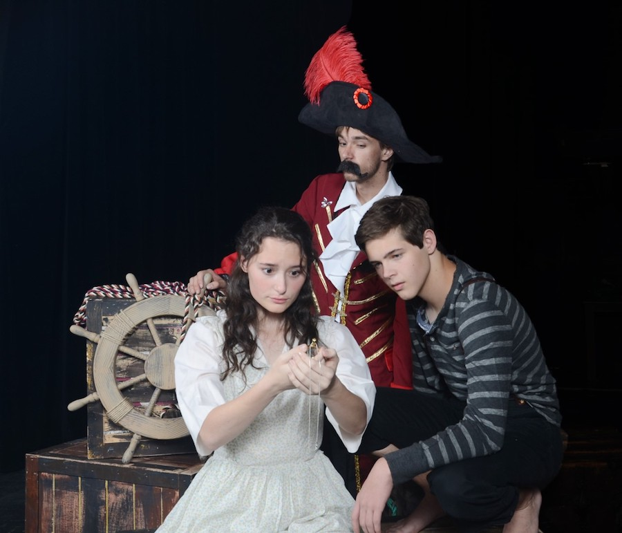 "Alyssa Gonzalez as Molly, Blake Sullivan as Peter and Sawyer Bland as the pirate Black Stache in Greasepaint's ""Peter and the Starcatcher."""