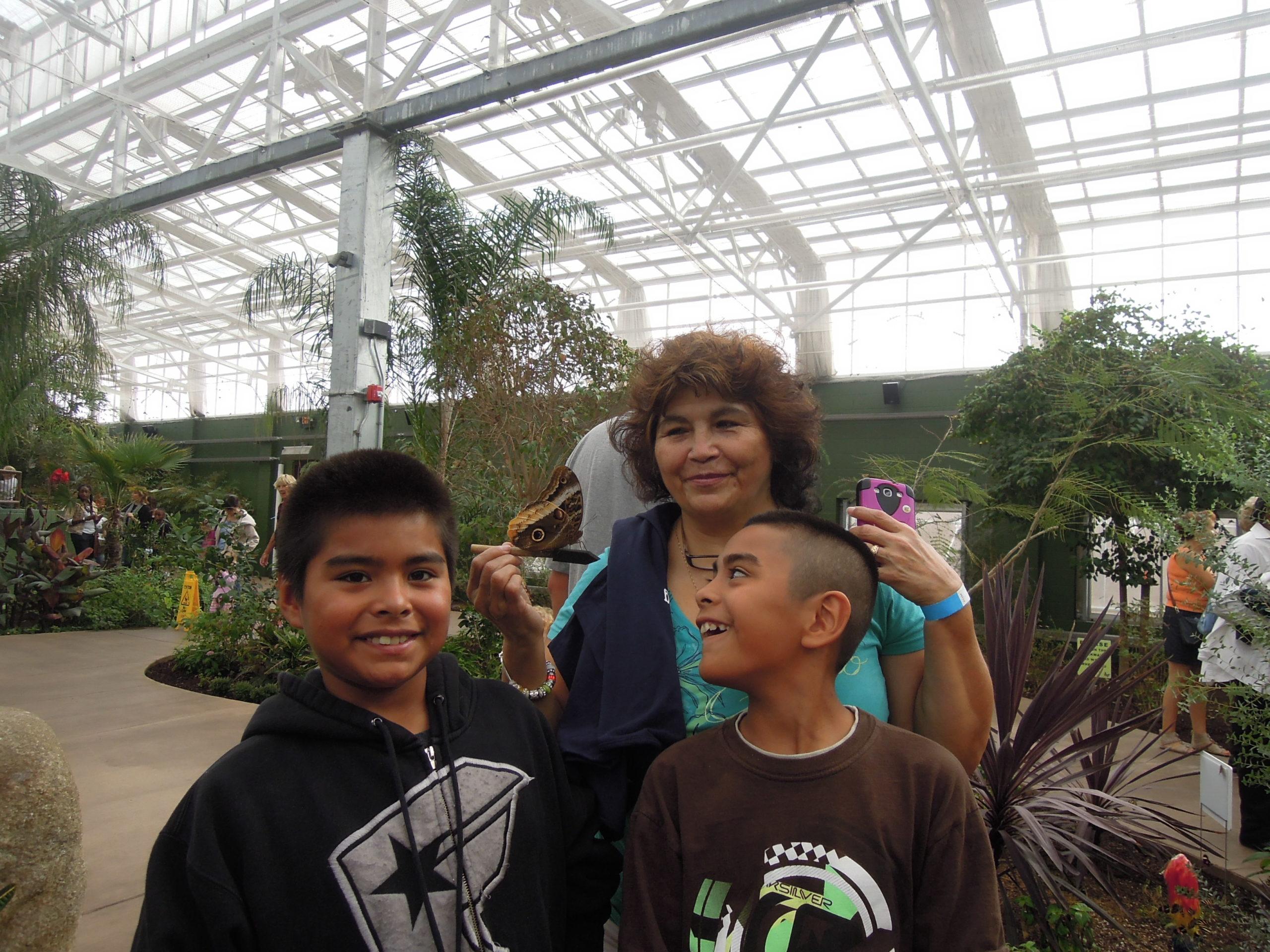 grandparents raising grandchildren, grandmother and grandsons, Butterfly Wonderland